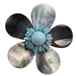 Broche Fleur en Nacre Grise Pépites et Perle de Larimar