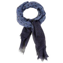 Echarpe 100% Laine Bleu Pois Noir et Grain de Riz