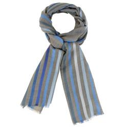 Foulard Laine et Soie Rayures Bleues