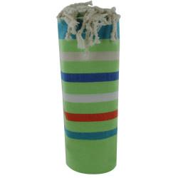 Fouta Drap Plage et Hammam Coton Vert Rayé Turquoise Orange Blanc
