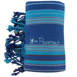 Kikoy Serviette Plage Coton Couleur Bleu Rayé Turquoise Rouge