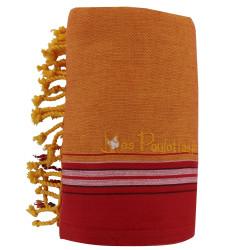 Kikoy Serviette Plage Coton Couleur Orange Rouge Eponge Jaune
