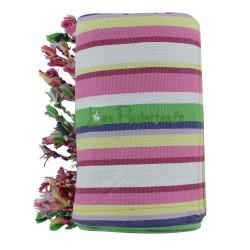 Kikoy Serviette Plage Coton Couleur Rayé Blanc Rose Vert