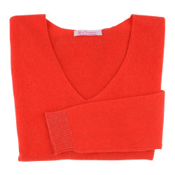 Pull Femme 100% Cachemire Oversize Rouge Corail