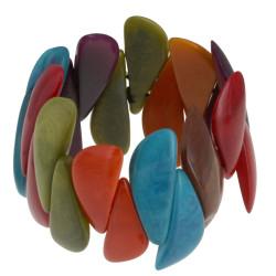 Bracelet Elastique Manchette Tagua Multicolore Eté
