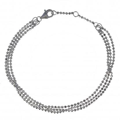 Bracelet Argent Rhodié Trois Rangs et Perles à Facettes