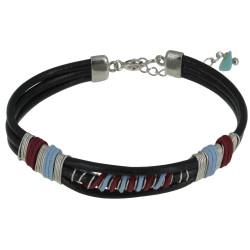 Bracelet Lien Cuir Noir Coton Bleu Ciel et Rouge