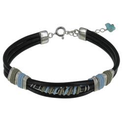 Bracelet Lien Cuir Noir Coton Bleu Ciel et Beige
