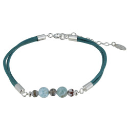 Bracelet Lien Cuir Turquoise Perles d'Agate et de Larimar