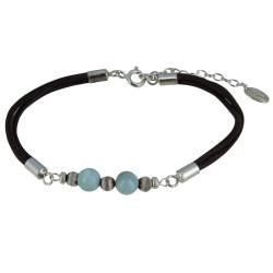 Bracelet Lien Cuir Marron Foncé Perles d'Agate et de Larimar
