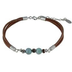 Bracelet Lien Cuir Marron Clair Perles d'Agate et de Larimar