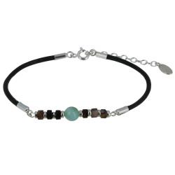 Bracelet Lien Cuir Marron Foncé Cylindre d'Agate et Perle de Larimar