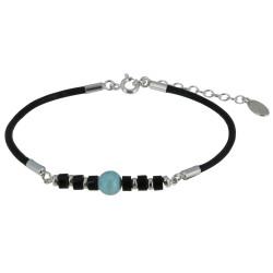 Bracelet Lien Cuir Noir Cylindre d'Agate Noire et Perle de Larimar