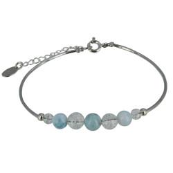 Bracelet Tubes Argent Perles de Cristal de Roche et de Larimar