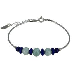 Bracelet Tubes Argent Perles de Lapis Lazuli et de Larimar