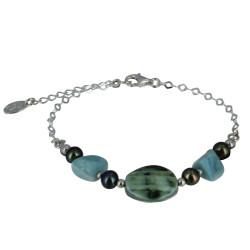 Bracelet Chaine Argent Disque Nacre Verte et Pépites de Larimar