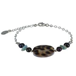 Bracelet Chaine Argent Disque Nacre Tigrée et Pépites de Larimar