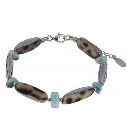 Bracelet Chaine Argent Lamelle Nacre Tigrée et Pépites de Larimar