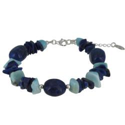 Bracelet Argent Galets de Lapis Lazuli et Pépites de Larimar