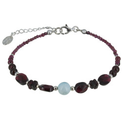 Bracelet Argent Perles de Grenat et de Larimar