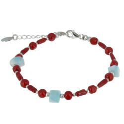 Bracelet Argent Perles en Bambou Corail et Pépites de Larimar