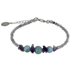 Bracelet Argent Pépites d'Améthyste et Perles de Larimar