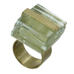 Bague Cube en Laiton et Feuilleté en Verre Transparent