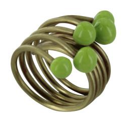 Bague Laiton Perles de Verre Vert Pomme