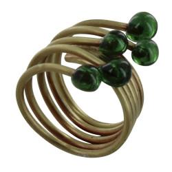 Bague Laiton Perles de Verre Vert Bouteille