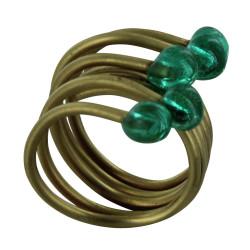 Bague Laiton Perles de Verre Verte
