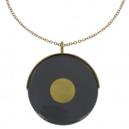 Collier Sautoir Chaine et Point Laiton Cible en Verre Noir