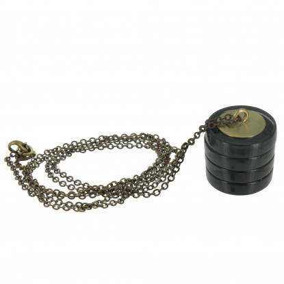 Collier Sautoir Chaine Laiton Cylindre en Verre Noir