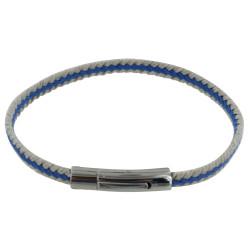 Bracelet Homme Tresse en Lin Bleu et Beige
