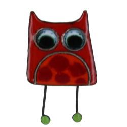 Broche Pin's Hibou émaillé Rouge à Pois Rouge
