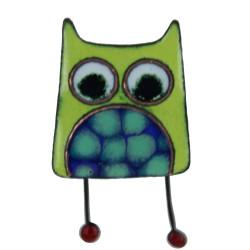 Broche Pin's Hibou émaillé Vert à Pois Vert