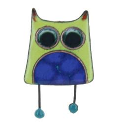Broche Pin's Hibou émaillé Vert à Pois Bleu