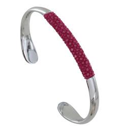 Bracelet Mixte Demi Jonc Laiton Rhodié et Galuchat Colors