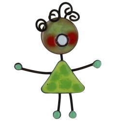 Broche Pin's Poupée émaillée Verte à Pois Verts