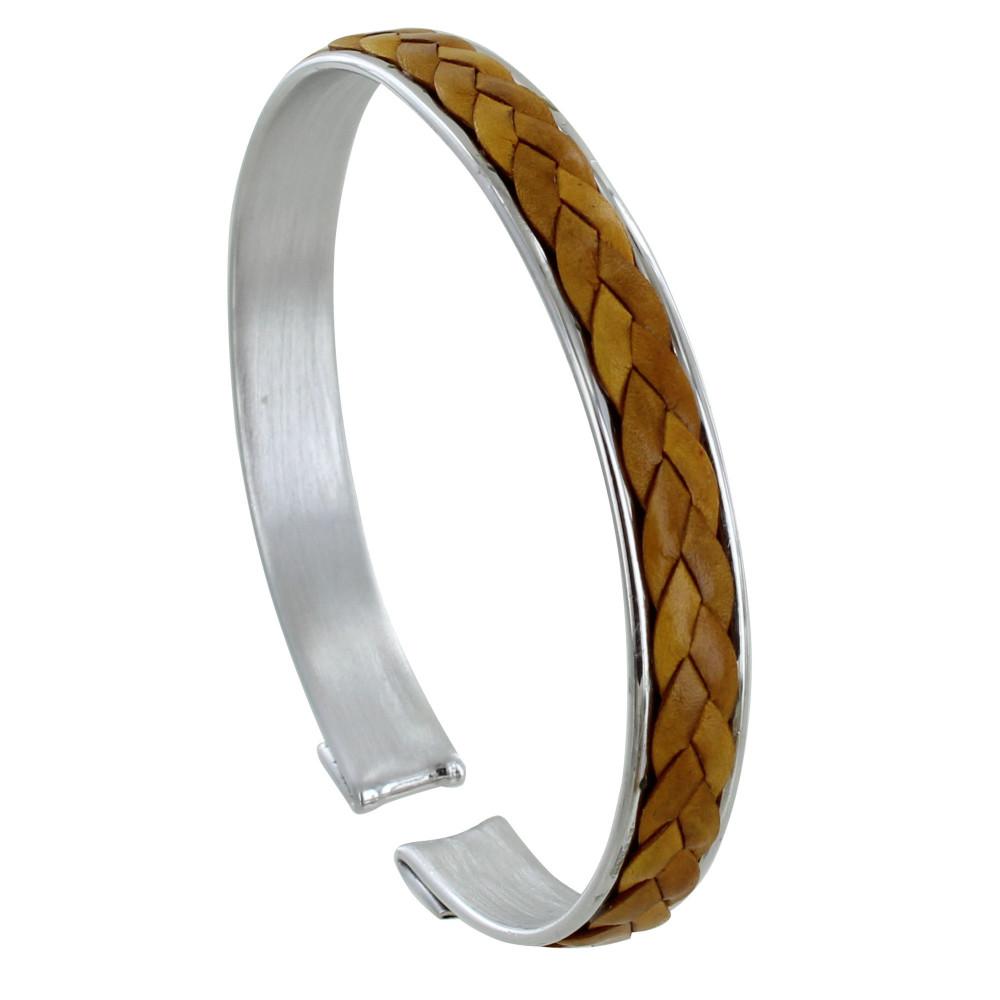 bracelet homme jonc argent et tresse en cuir marron clair. Black Bedroom Furniture Sets. Home Design Ideas