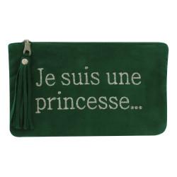 Pochette Sac Daim Brodé Je suis une Princesse Couleur Vert Sapin