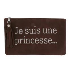 Pochette Sac Daim Brodé Je suis une Princesse Couleur Chocolat