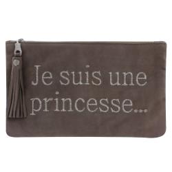 Pochette Sac Daim Brodé Je suis une Princesse Couleur Taupe