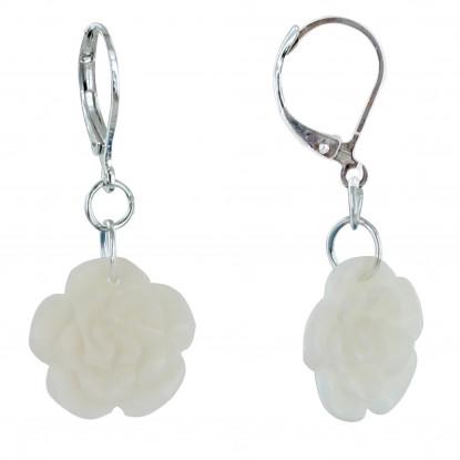 Boucles d'Oreilles Rose en Tagua