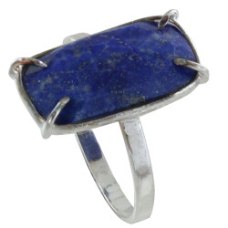 Bague Argent Rectangle de Lapis Lazuli Facetté
