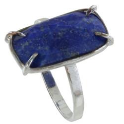 Bague Argent Rectangle de Lapis Lazuli Facetté