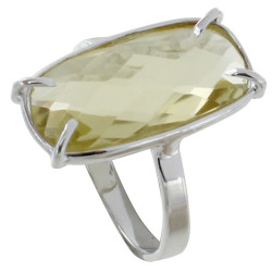 Bague Argent Rectangle de Quartz Jaune Facetté