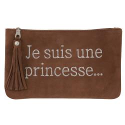 Pochette Sac Daim Brodé Je suis une Princesse Couleur Marron Clair