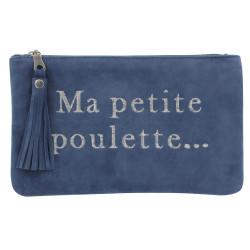 Pochette Sac Daim Brodé Ma Petite Poulette Couleur Bleu Gris