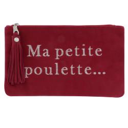 Pochette Sac Daim Brodé Ma Petite Poulette Couleur Rouge