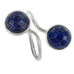 Bague Argent Toi et Moi Lapis Lazuli Facetté Ronde